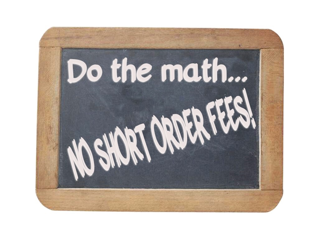 No short order fees do the math
